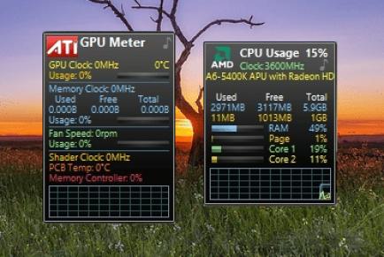 Гаджеты показывающие температуру процессора и видеокарты