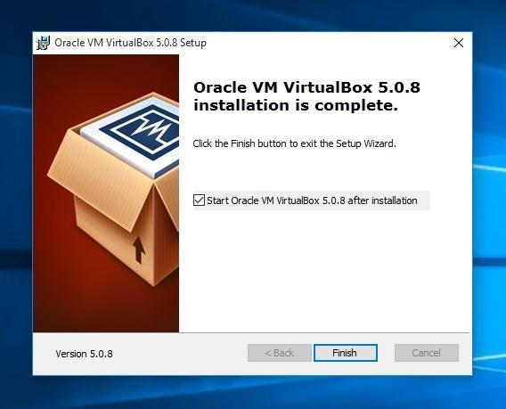 Сообщение о завершении установки VirtualBox