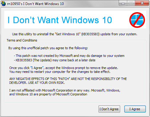 Программа I dont want Windows 10