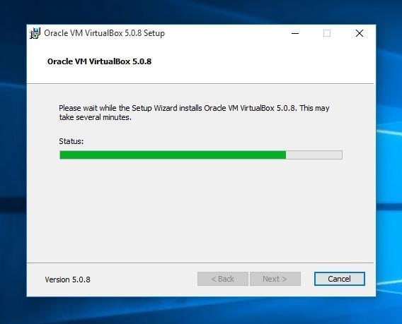 Идет процесс установки VirtualBox