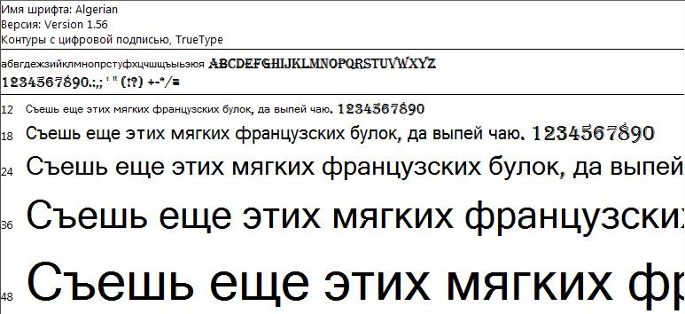 Отображение шрифта