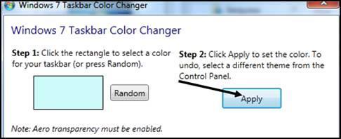 Применить цвет панели задач