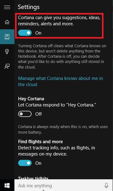 Settings cortana
