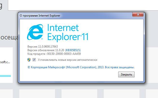 Сведения Internet Explorer