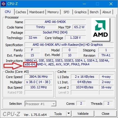 Программа CPU-Z x86-64