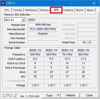 CPU-Z вкладка SPD