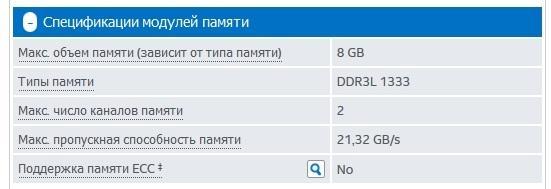 Данные о процессоре с сайта