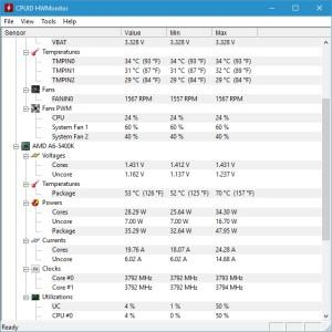 Окно программы hwmonitor