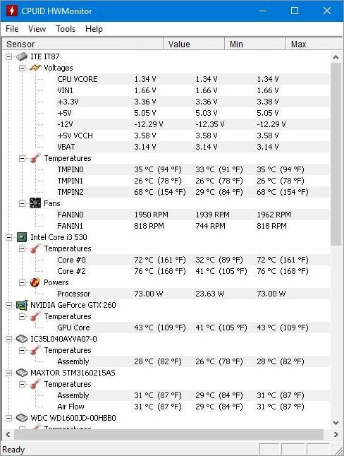 Температура на Intel Core i3-530