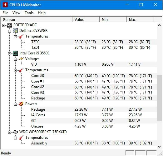 Температура на Intel Core i5-3550S