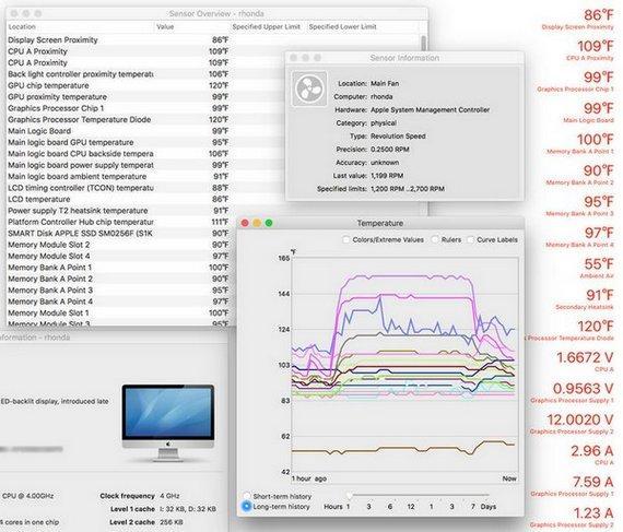 Температурные характеристики с датчиков в Мac