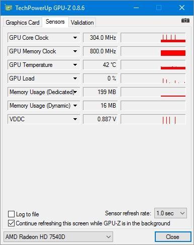 Показатели датчиков для видеокарты Radeon HD 7540D