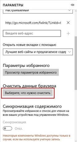 Microsoft Edge Параметры