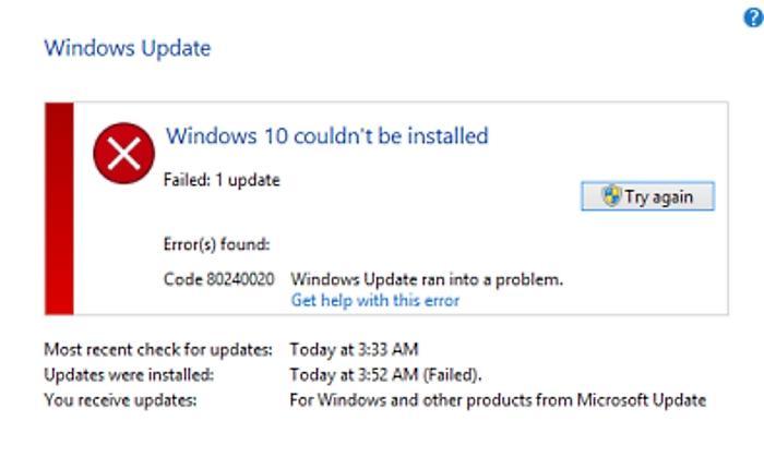 Ошибка 80240020