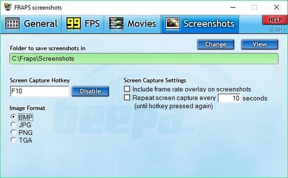 Утилита Fraps вкладка Screenshots