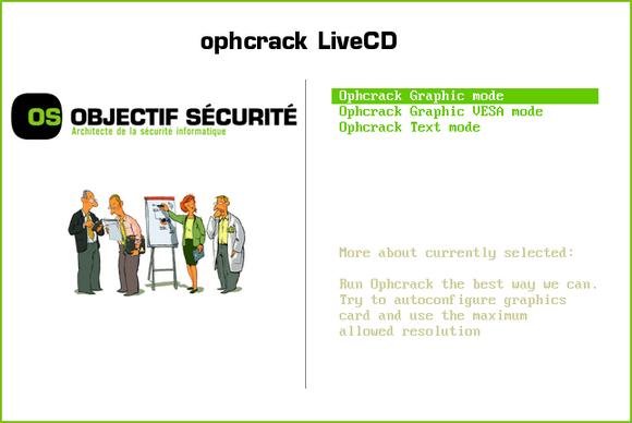 Режим запуска Ophcrack LiveCD