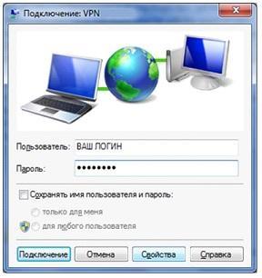 Вход в подключение VPN