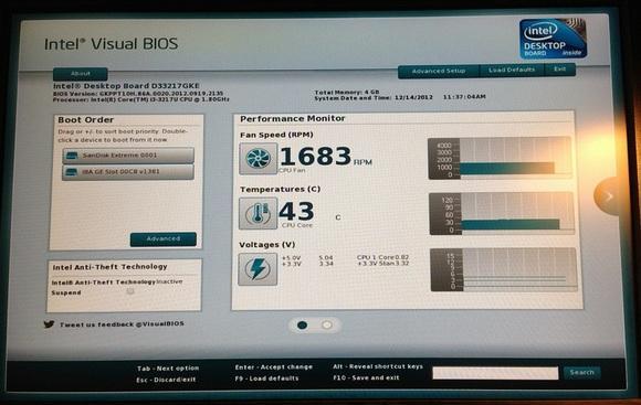 БИОС Intel Visual
