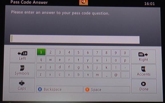 Ввод пароля xbox 360