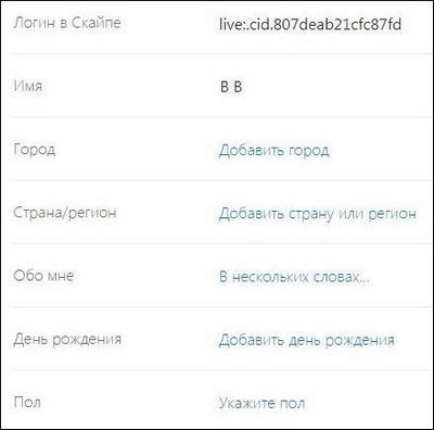Данные пользователя на ПК