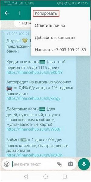 Копировать WhatsApp