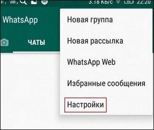 Меню WhatsApp