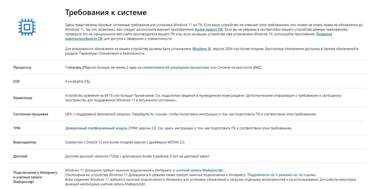 Требования к ПК Windows 11 от Майкрософт