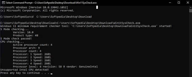 Проверка совместимости в Win11SysCheck