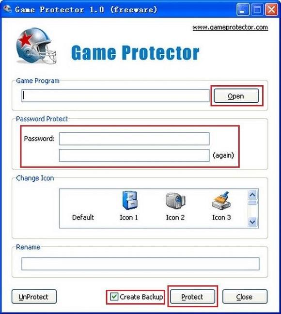Установка пароля с помощью Game Protector