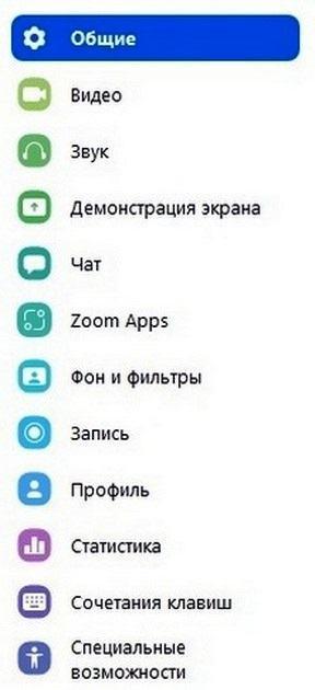 Раздел настройки мессенджера zoom